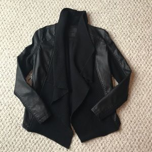 Blank NYC black sweater/faux leather cardigan